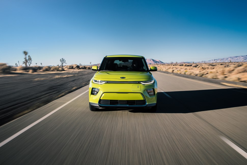 Kia Soul - signal yellow, on road, fascia