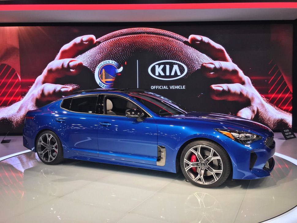 Kia Stinger - blue, side view