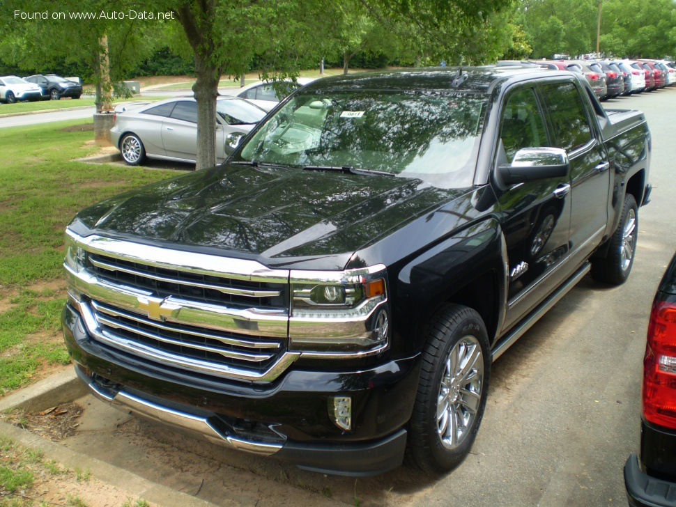Chevrolet Silverado 1500 Crew Cab III (facelift 2016) Short Box - Fiche technique, Consommation de carburant, Dimensions