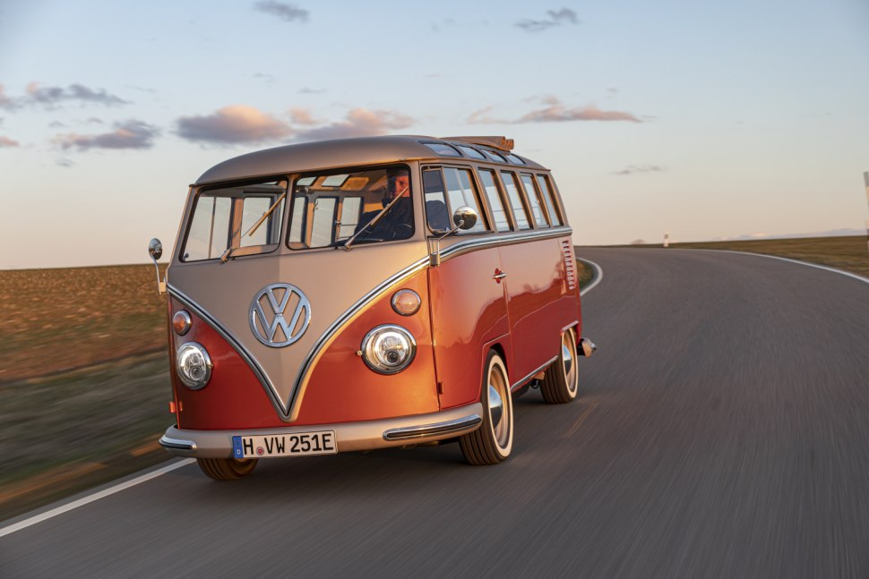VW e-BULLI is a modern day vehicle with an old school look