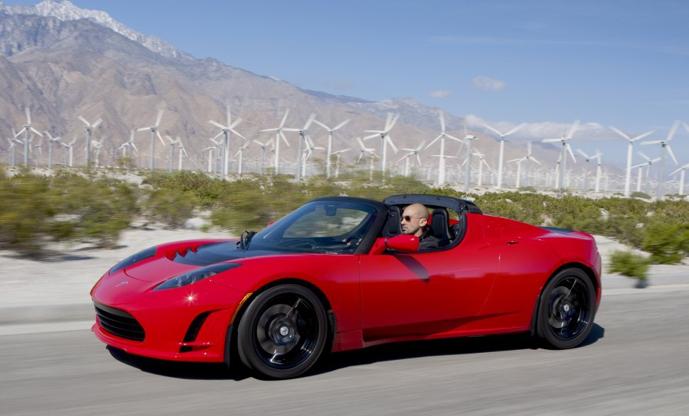 Tesla Roadster on the highway