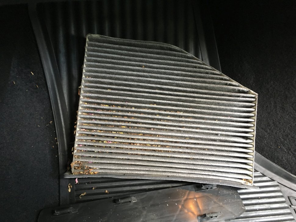A clear view on how dirty cabin air filter looks.