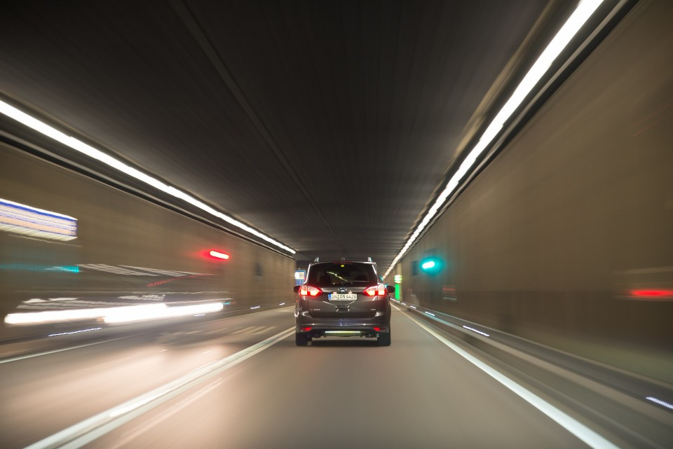car in a tunnel for test drive
