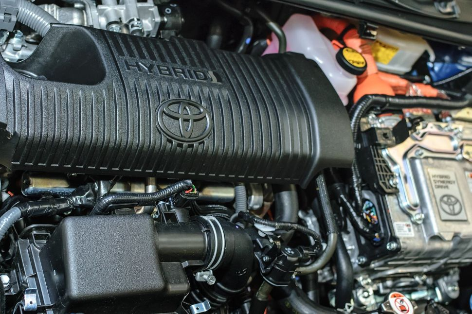 Under the hood of the hybrid Toyota - engine view